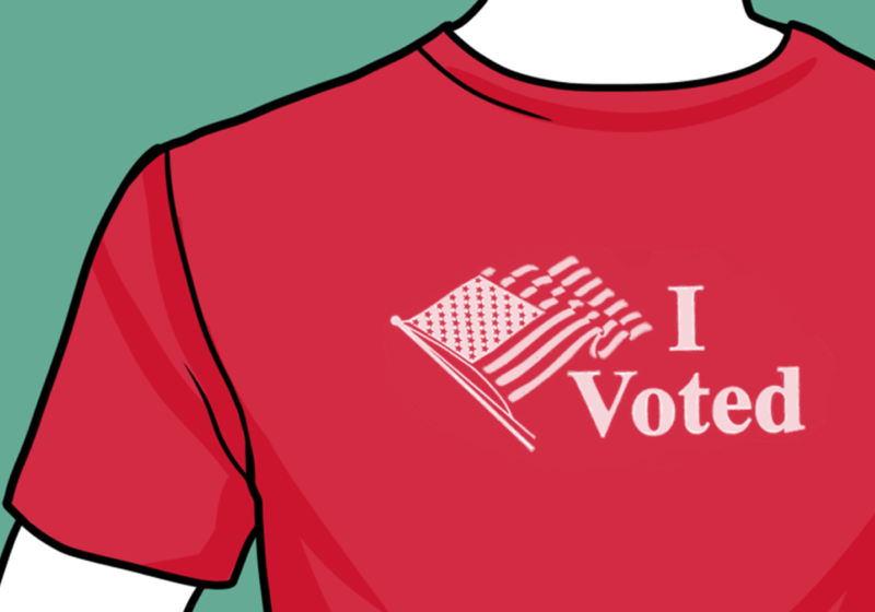 """Red shirt that reads """"I voted"""""""